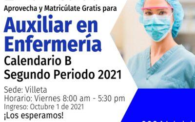 Inscripciones Enfermería Admisalud Villeta Calendario B 2021 -2